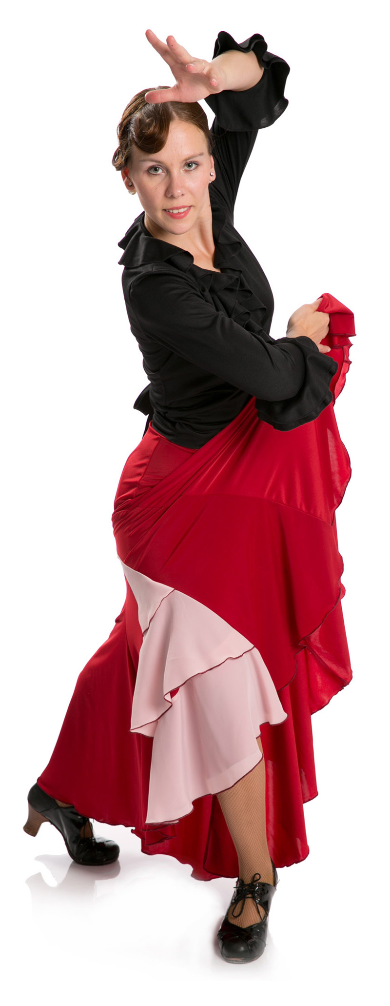 Flamenco Dance Skirt Azabache VII Red-Pink
