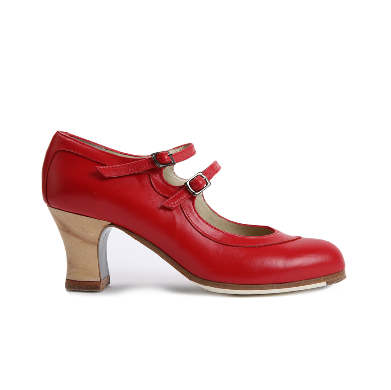 Flamenco dance Shoe Dos Correas Red Leather