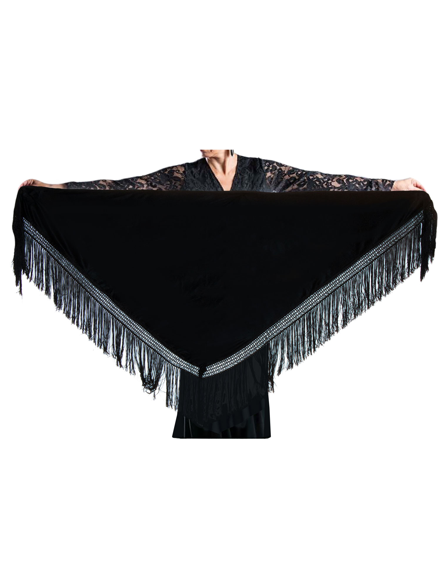 flamenco shawl black 150 x 70