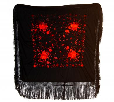 Black silk shawl with red handmade embroideries