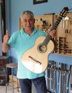 Jerónimo Maya flamenco guitar blanca mother of pearl inlays on rosette and bridge