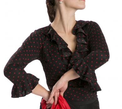Flamenco dance top black with red dots